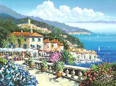 "Kerry Hallam Handsigned & Numbered Limited Edition Serigraph:"" Terrace Rendezvous"""