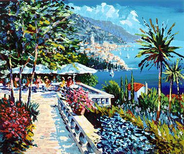 """Kerry Hallam Limited Edition Hand-Pulled Serigraph: """" Amalfi Terrace """""""