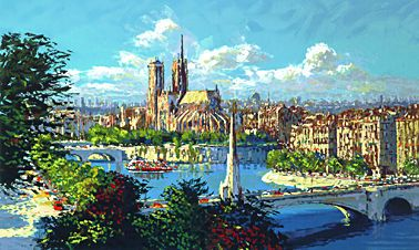 "Kerry Hallam Limited Edition Hand-Pulled Serigraph: "" Notre Dame a la Tournelle """