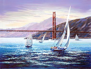 """Kerry Hallam Limited Edition Hand-Pulled Serigraph on Canvas: """" Golden Gate Sunset (The Pacific Coast Suite) """""""