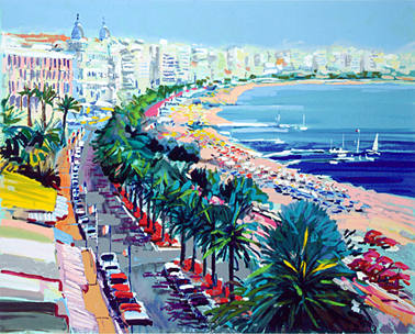 "Kerry Hallam Limited Edition Hand-Pulled Serigraph on Paper: "" Cannes """