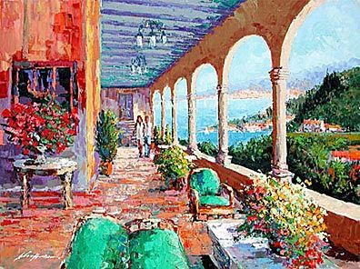 """Kerry Hallam Limited Edition Multiple Oil Painted Originals of Canvas: """" Grand Hotel """""""