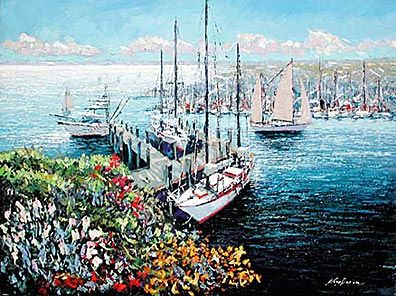 """Kerry Hallam Limited Edition Multiple Oil Painted Originals of Canvas: """" Home Port, New England Harbor """""""