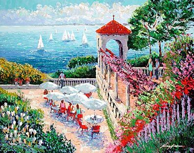 """Kerry Hallam Limited Edition Multiple Oil Painted Originals of Canvas: """" Lookout Point – Cap Martin """""""