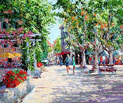 """Kerry Hallam Limited Edition Multiple Oil Painted Originals of Canvas: """" St. Tropez Marketplace """""""