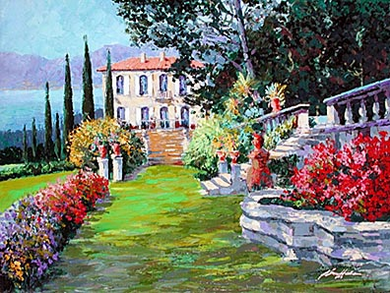 "Kerry Hallam Limited Edition Multiple Oil Painted Originals of Canvas: "" Villa Como """