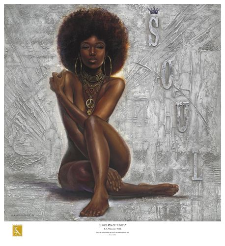 """Kevin A. Williams (WAK) Limited Edition Signed Lithograph Ed. 850:""""Love, Peace 'n Soul"""""""