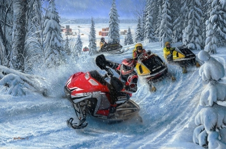 "Kevin Daniel Hand Signed and Numbered Limited Edition Artist Proof: ""Sledheads - Snowmobiles"""