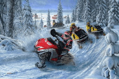 """Kevin Daniel Hand Signed and Numbered Limited Edition Artist Proof: """"Sledheads - Snowmobiles"""""""