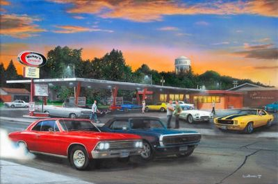 "Kevin Daniel Hand Signed and Numbered Limited Edition Giclee: ""Cruise Night"""