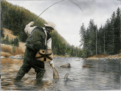 "Kevin Daniel Hand Signed and Numbered Limited Edition Giclee: ""Fishing The Gallatin"""
