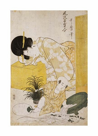"""Kitagawa Utamaro Fine Art Open Edition Giclée:""""A Mother Dozing While Her Child Topples a Fish Bowl"""""""
