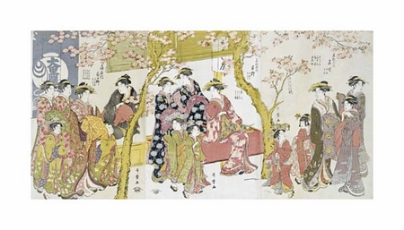 "Kitagawa Utamaro Fine Art Open Edition Giclée:""Three Groups of Courtesans with Their Shinzo and Kamuro"""