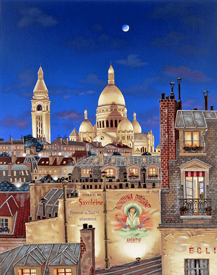 """Kondakova Hand-signed and Numbered Limited Edition Serigraph on Coventry Smooth White Paper:""""Paris Evening"""""""