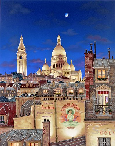"Kondakova Hand-signed and Numbered Limited Edition Serigraph on Coventry Smooth White Paper:""Paris Evening"""