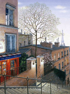 """Kondakova Handsigned and Numbered Limited Edition :Deluxe Serigraph on Canvas:""""Le Poète (Parisian Memories Suite)"""""""