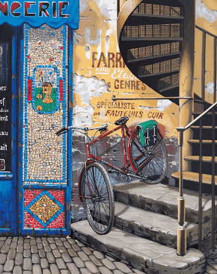 """Kondakova Handsigned and Numbered Limited Edition :Deluxe Serigraph on Canvas:""""The Stairway (Parisian Memories Suite)"""""""