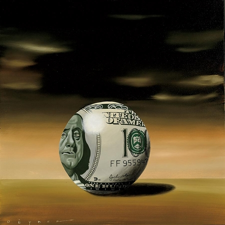 """Robert Deyber Artist Signed Limited Edition Hand-crafted Stone Lithograph:""""Moneyball"""""""