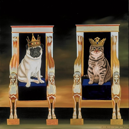 "Robert Deyber Artist Signed Limited Edition Hand-crafted Stone Lithograph:""Reigning Cats and Dogs"""