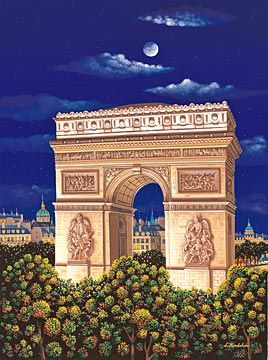 """Kondakova Handsigned and Numbered Limited Edition :Serigraph on Gesso Board:""""Arc de Triomphe (Toujours Paris! Suite)"""""""