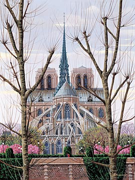 "Kondakova Handsigned and Numbered Limited Edition :Serigraph on Gesso Board:""Cathedral Notre-Dame (Toujours Paris! Suite)"""