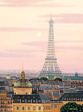 """Kondakova Handsigned and Numbered Limited Edition :Serigraph on Gesso Board:""""La Tour Eiffel (Toujours Paris! Suite)"""""""