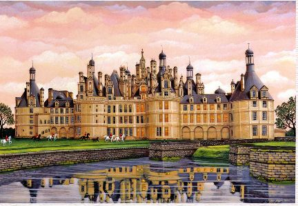 "Kondakova Handsigned and Numbered Limited Edition :Serigraph on Koji Japon Paper:""Chambord (Chateaux Suite)"""