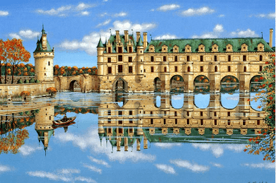 """Kondakova Handsigned and Numbered Limited Edition :Serigraph on Koji Japon Paper:""""Chenonceaux (Chateaux Suite)"""""""