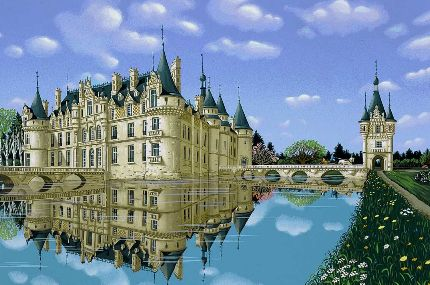 """Kondakova Handsigned and Numbered Limited Edition :Serigraph on Koji Japon Paper:""""Esclimont (Chateaux Suite)"""""""