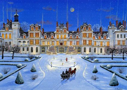 "Kondakova Handsigned and Numbered Limited Edition :Serigraph on Koji Japon Paper:""Fontainebleau (Chateaux Suite)"""