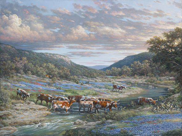 "Larry Dyke Hand Signed and Numbered Limited Edition Giclee:""Low Water Crossing"""
