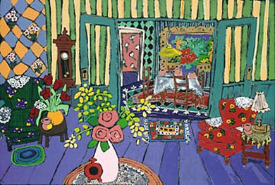 "Laurie Zeszut Limited Edition Serigraph on Paper: "" Living Room Series I """
