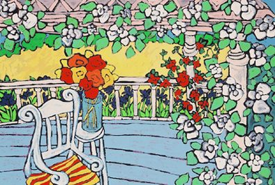 """Laurie Zeszut Limited Edition Serigraph on Paper: """" On the Porch """""""