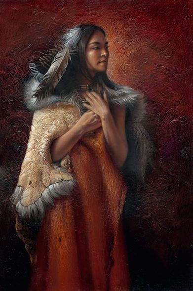 "Lee Bogle Hand Signed and Numbered Limited Edition Canvas Giclee:""Proud Cherokee Princess"""