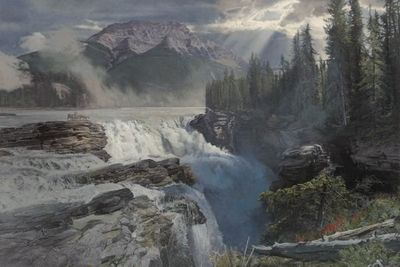 """Phillip Philbeck Artist Hand Signed Limited Edition Giclee Print:""""Athabasca Falls"""""""