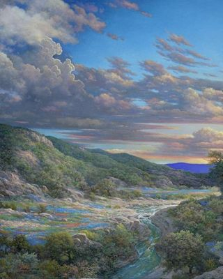 "Larry Dyke Artist Hand Signed Limited Edition Giclee Print:""Sunset Bend"""