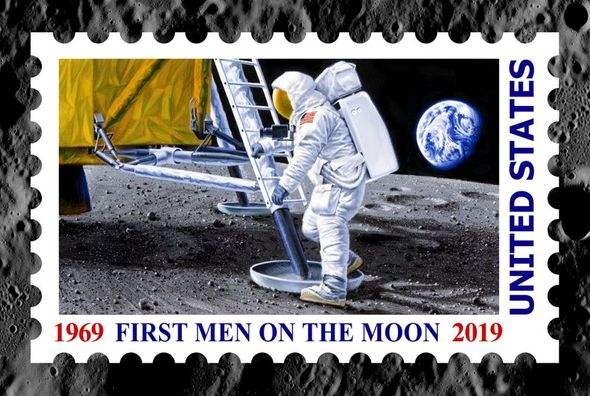 "Chris Calle Artist Hand Signed Limited Edition Canvas Giclee :""First Men on the Moon"""