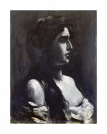 "Lesser Ury Fine Art Open Edition Giclée:""A Young Girl in Profile"""