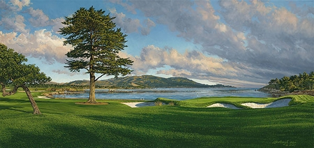 """Linda Hartough Handsigned and Numbered Limited Edition:""""Pebble Beach, Hole 18"""""""