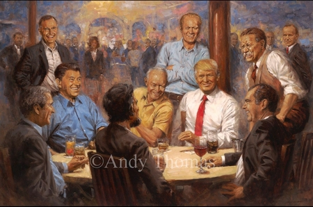 "Andy Thomas Artist Signed and Numbered Limited Edition Giclee:""The Republican Club with Donald Trump"""