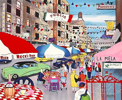 """Linnea Pergola Limited Edition Serigraph on Paper: """" Afteroon in Little Italy """""""