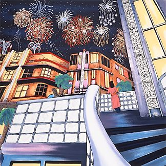 "Linnea Pergola Limited Edition Serigraph on Paper:""Night Lights"""
