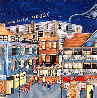 """Linnea Pergola Limited Edition Serigraph on Paper: """" North End Night Out """""""