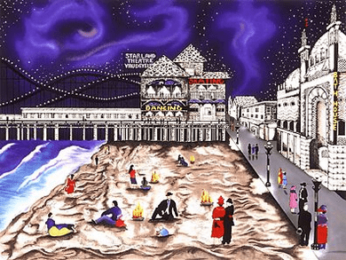 "Linnea Pergola Limited Edition Serigraph on Paper: "" Seaside Nights - Nothern Lights """