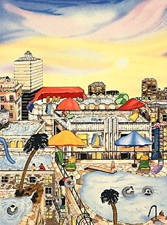 """Linnea Pergola Limited Edition Serigraph on Paper: """" Summer in the City """""""