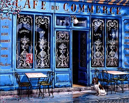 "Liudmila Kondakova Hand-Crafted Lithograph on Paper:""Cafe du Commerce"""