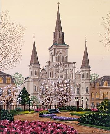 "Liudmila Kondakova Hand-Crafted Lithograph on Paper:""Dawn-in Jackson Square"""