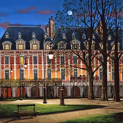 "Liudmila Kondakova Hand-Crafted Lithograph on Paper:""Place des Vosges"""
