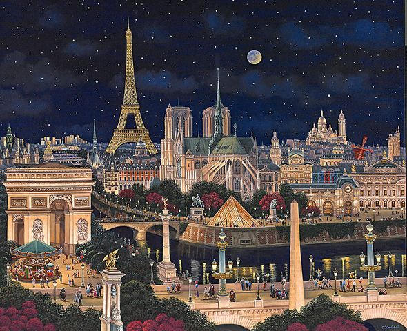 """Liudmila Kondakova Hand-signed and Numbered Limited Edition Canvas:""""City of Dreams"""""""