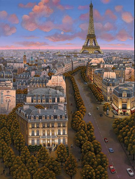 "Liudmila Kondakova Hand-signed and Numbered Limited Edition Canvas:""The Magic Hour (Paris)"""